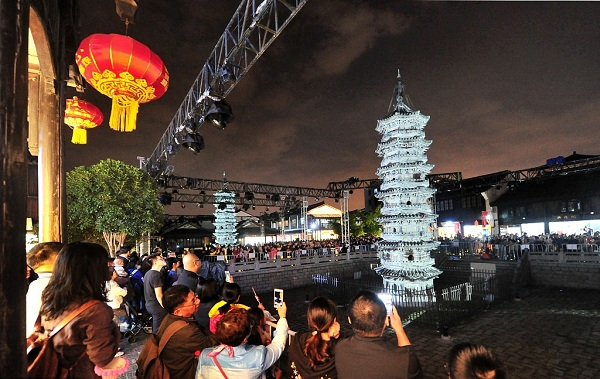 Twin pagodas in Nanxiang light up evening sky